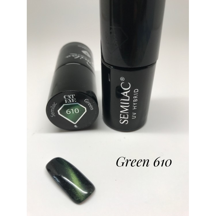610 UV Lakier hybrydowy UV Semilac Cat Eye Green 7ml