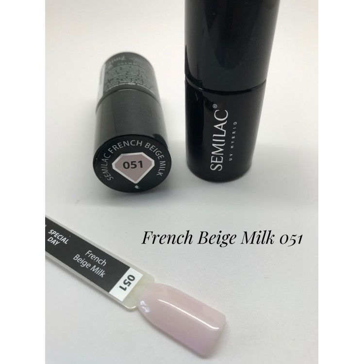 051 UV Lakier Hybrydowy Semilac French Beige Milk 7ml